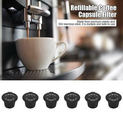 6pcs Refillable Coffee Capsule Cup Reusable Filter For Dolce Gusto Nescafe Black