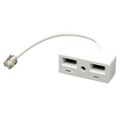 RJ11 Plug to Dual UK BT Telephone Socket Convertor H4Y4 FSA