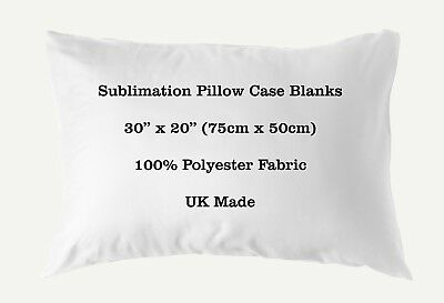 "Sublimation Pillow Case Blank 100% Polyester 30"" x 20"" 75cm x 50cm Heat Transfer"