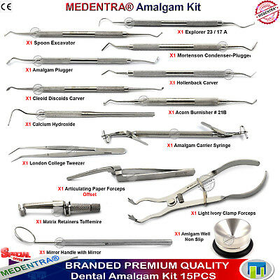 Amalgam Kit Dental Filling Composite Pluggers Scalers Ball Burnishers Carvers CE