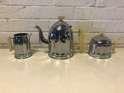 Rare Belgian Art Deco Demeyere Chrome & Bakelite 3 Piece Tea Set