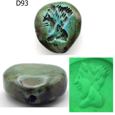 Rare Stunning Old Intaglio Greek King Face Turquoise Stone Bead #D93