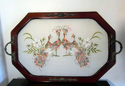 Vintage Wooden Tray With Brass Handles - Embroidered Peacocks -For Restoration?