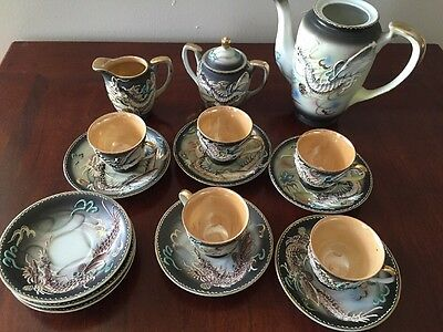 Satsuma Dragon Ware Service Tea Set Japan hand painted gold - 17 Pc. Lot