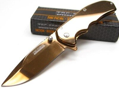 Tac-Force Straight Bronze Assisted Folding Linerlock Pocket Knife TF-933RG