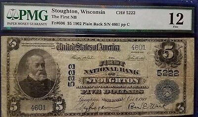 1902 $5 1St National Bank Of Stoughton, Wi Plain Back -Pmg F12- Ch#5222 - #4601