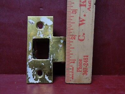 Extra Secure Vintage Heavy Cast Brass Strike Plate Deadbolt Lock Receiver #07