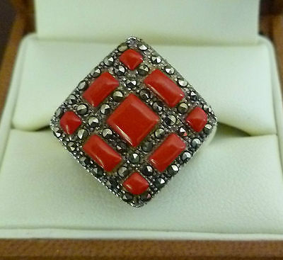 Ring  silver Marquisate with carnelian stone in excellent condition
