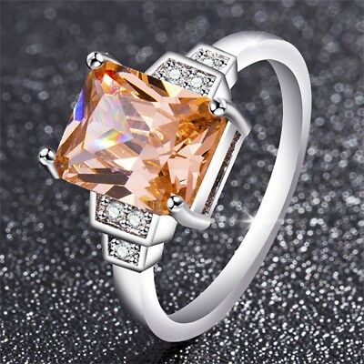Square AAA Zircon Stone Silver Rings Anillos Bague Women Wedding Engagement Ring