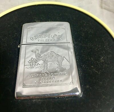 Zippo Chrome Engraved Camel Lighter and Collectible Tin NIB  1990's Never used