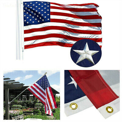 American Flag 5X8 Ft USA US Flag Deluxe Embroidered Star Sewn Stripes Heavy Duty