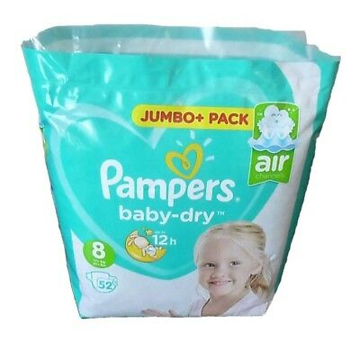 52 Pampers Baby Dry Nappies (Air Channels) Size 8 (17+kg 37+lbs)