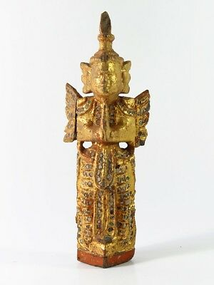 """4# Beautiful Antique Wood Carve """"the figure of deva"""" From Thailand Temple Look!!"""