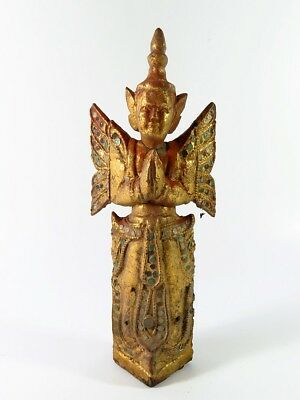 """1# Beautiful Antique Wood Carve """"the figure of deva"""" From Thailand Temple Look!!"""