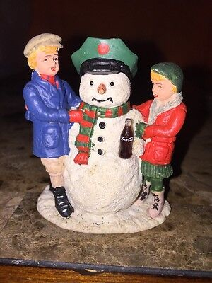 Coca Cola Town Square Collection 1992 Snowman Girl And Boy