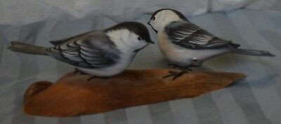 Hand carved pair of Chickadees  A. Warrens original carving, painted by A. Eagle