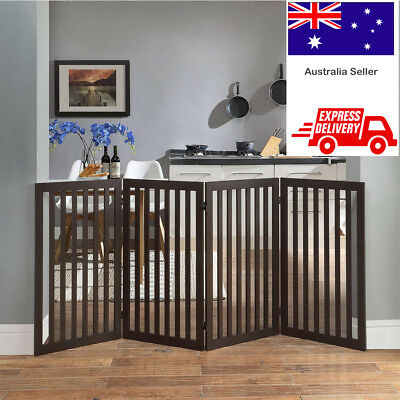 Baby Safety Gate Freestanding Wide Child Pet Fence Foldable Wooden Indoor 91cm