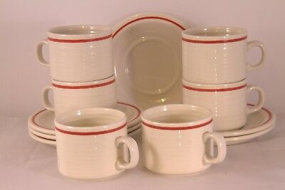 Vintage Set of x 6 Homespun Churchill Stonecast Range Cups & Saucers