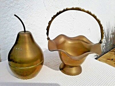 Vintage Brass Planter Vase Basket Ornate & Brass Gilt Pear Trinket Box