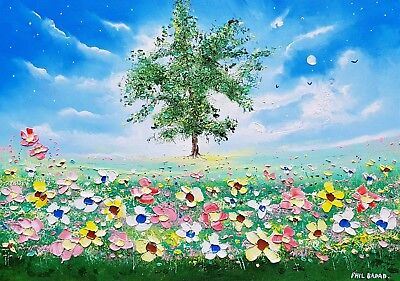 The Oak & Flowers in Love, a large colourful oil painting on canvas Phil Broad