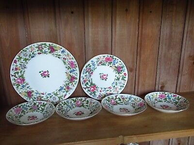 Lot Of Vintage Crown Staffordshire Thousand Flowers Floral Spare Saucers Plates