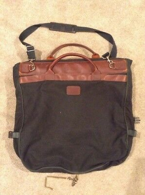 Orvis Vintage Green Canvas Brown Leather Garment Bag Made In U S A