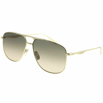 9daf98153b7 New Authentic Gucci GG0336S 001 Gold Metal Aviator Sunglasses Brown  Gradient Len