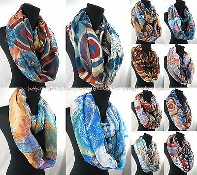 US SELLER-lot of 5 Infinity scarf retro abstract mandala circle infinity scarf
