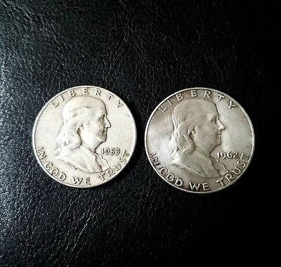 "TWO  "" FRANKLIN HALF DOLLARS  "" BOTH are 90% SILVER  💰 1953 & 1962 💰"