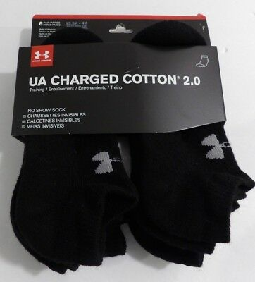 Under Armour Boys UA Charged Cotton 2.0 No Show Socks 6 Pairs 13.5K - 4 Youth