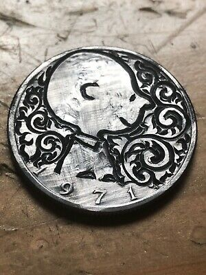Hand Carved Hobo Nickel Coin Art Charlie Brown Peanuts Half Dollar 1971