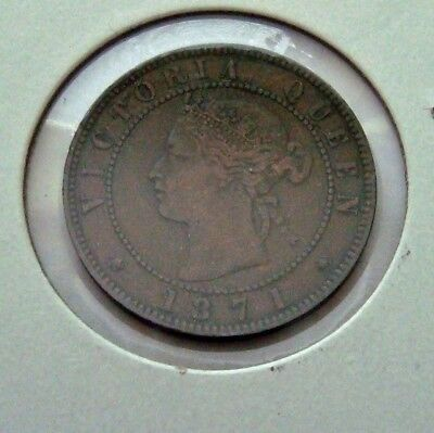 CANADA. 1871 ..Prince Edward Island Large One Cent Coin  Only Year of Issue Circ