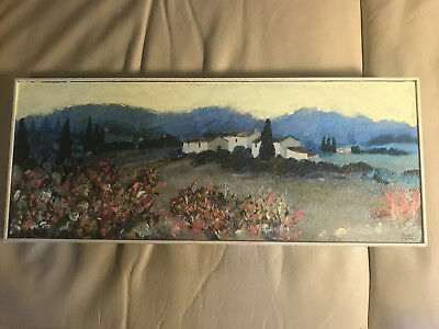 "Nice Hazel Barker ""Expansive Landscape Scene"" Oil Painting - Signed And Framed"