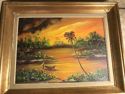 """Nice Rochelle """"Florida Landscape Scene"""" Acrylic Painting - Signed And Framed"""