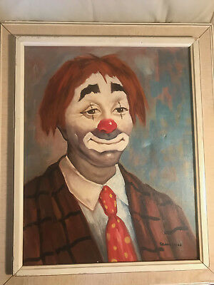 "P Lajos ""Sad Clown Portrait"" Oil Painting - Signed And Framed"