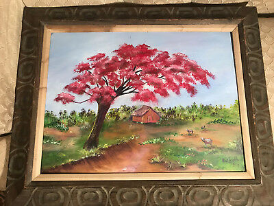 """Large Rochelle """"Florida Rural Home/Landscape Scene"""" Acrylic Painting - Framed"""