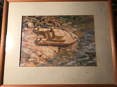 "Lovely Vintage Dot Bunn ""Child's Wood Sailboat Scene"" Oil Painting-Signed/Framed"