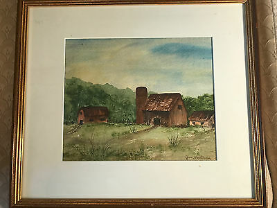 """Jan Hartman """"Old Farm house And Barn Scene"""" Watercolor - Signed And Framed"""