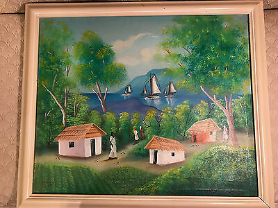 "Nice Large Vintage ""Haitian Village Scene"" Oil Painting #1 - Signed And Framed"