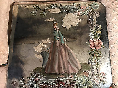 """Large Antique """"Young Female With Umbrella Scene"""" Reverse Oil On Glass Painting"""