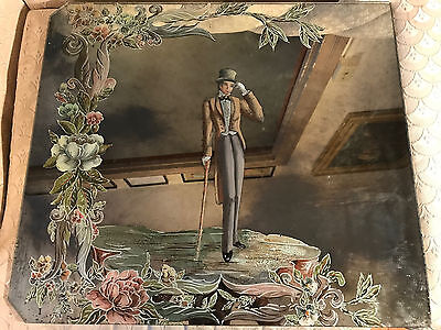 """Large Antique """"Young Man With Cane Scene"""" Reverse Oil On Glass Painting"""