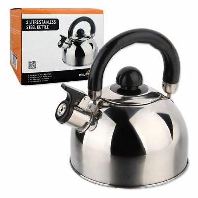 Milestone Camping 2 Litre Stainless Steel Whistling Kettle Coffee Tea Pot