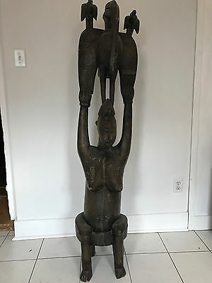 Huge 66.5 In. Tall Antique Carved African Female Fertility/Maternity Wood Statue