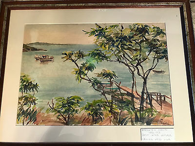 """Nice Ethelwyn Bradish """"Waterfront Scene""""  Watercolor Painting -Signed And Framed"""