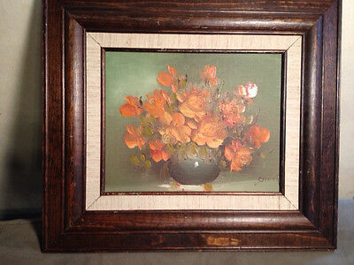 "Lovely Original Crewer ""Bowl Of Orange And Gold Flowers"" Oil Painting - Framed"