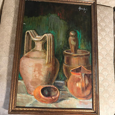 "Nice Vintage ""Still-Life With Jugs Scene"" Oil On Board Painting - Signed/Framed"