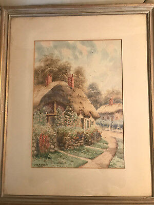"John Simpson Fraser (1840-1900) ""Cottage Scene"" Watercolor Painting - Framed"