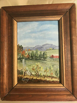 """Small Houx  """"Farm Landscape Scene"""" Acrylic Painting - Signed And Framed"""