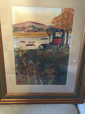 """Nice Original 'Farm And Carriage Scene"""" Oil Painting- Signed  And Framed"""