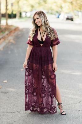 65ce0ff4aad6 Honey Punch Lace Maxi Romper Dress Vacation Beach Sexy Bridesmaid Burgundy  S M L
